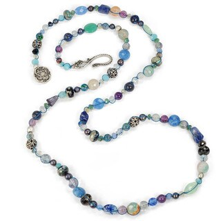 Sweet Romance Gemstone Beads and Pearls Amethyst Long Necklace