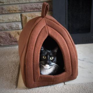 Paw Tan Enclosed Igloo Tent Cat Bed