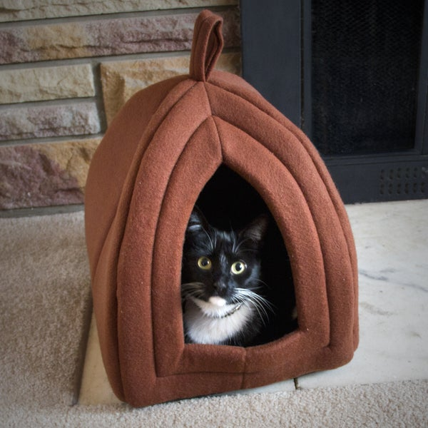 Paw Tan Enclosed Igloo Tent Cat Bed