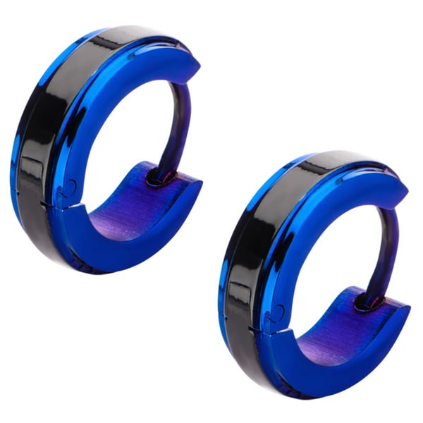 Stainless Steel Black and Blue Hoop Earrings