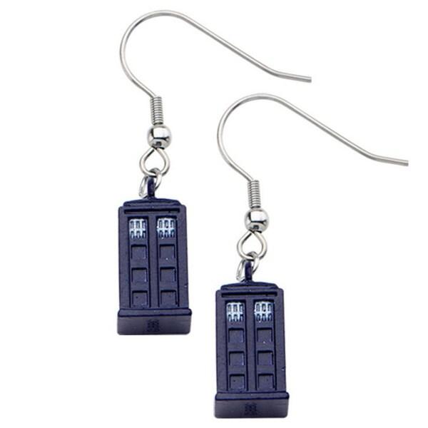 Zinc Alloy Doctor Who 3D Blue Tardis earrings