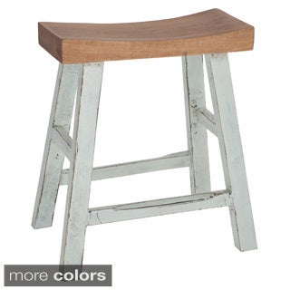 Two-Tone Curved Solid Wood Stool