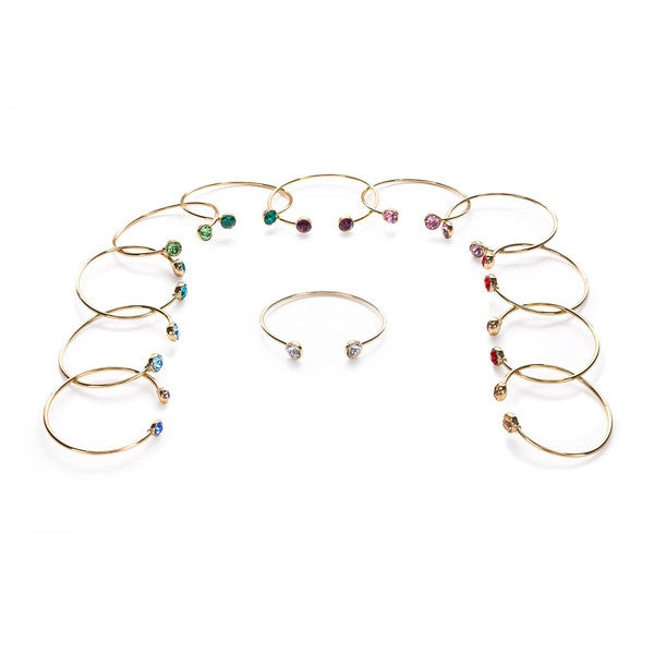 Isla Simon Gold Plated Birthstone 10Mm Crystal Bangle Bracelet With Swarovski Element Crystals 15440991