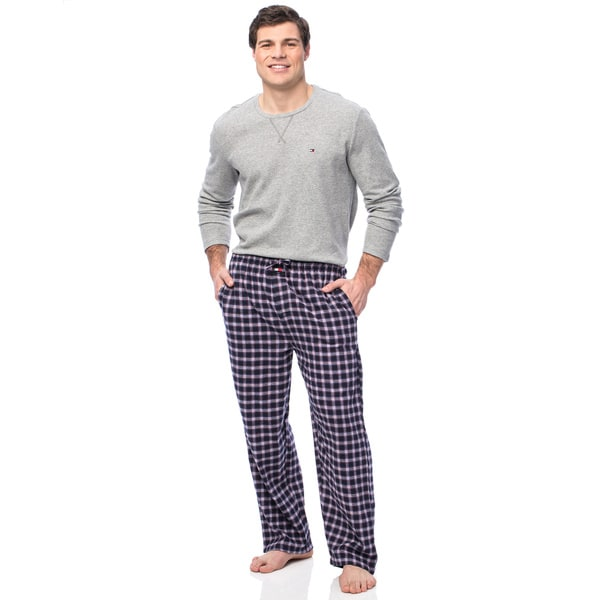 Tommy Hilfiger Men's Long Shirt with Deep Sea Plaid Pants 15441132