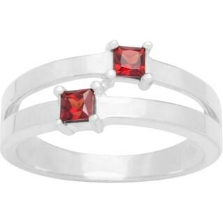 Sterling Silver Princess-cut Birthstone 2-stone Ring