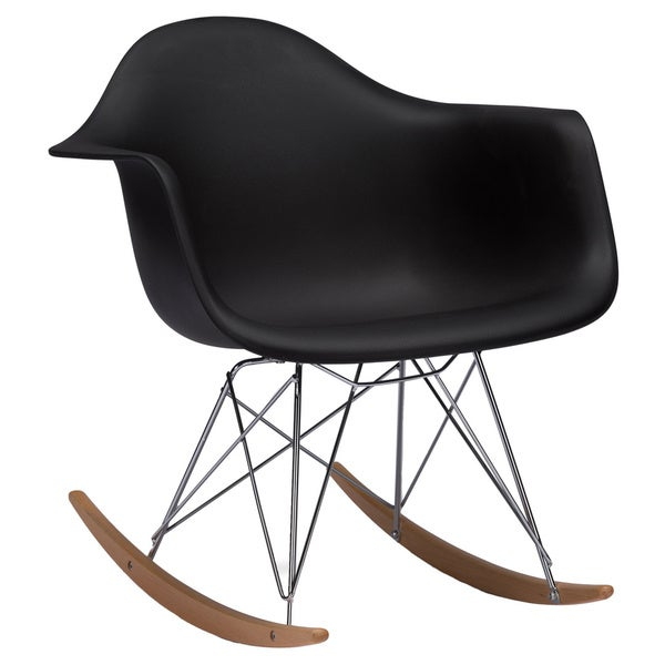Baxton Studio Dario Black Plastic Mid-century Modern Rocking Chair