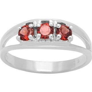 Sterling Silver Round Birthstone 3-stone Ring