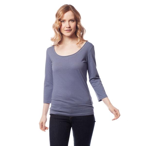 AtoZ Women's 3/4 Sleeve Scoop Neck Top