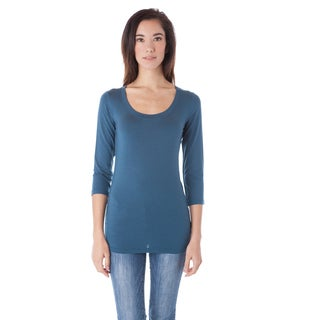 AtoZ Women's Modal 3/4 Sleeve Scoop Neck Top