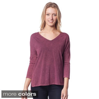 AtoZ Women's Antique Wash V-Neck Relaxed Fit Top