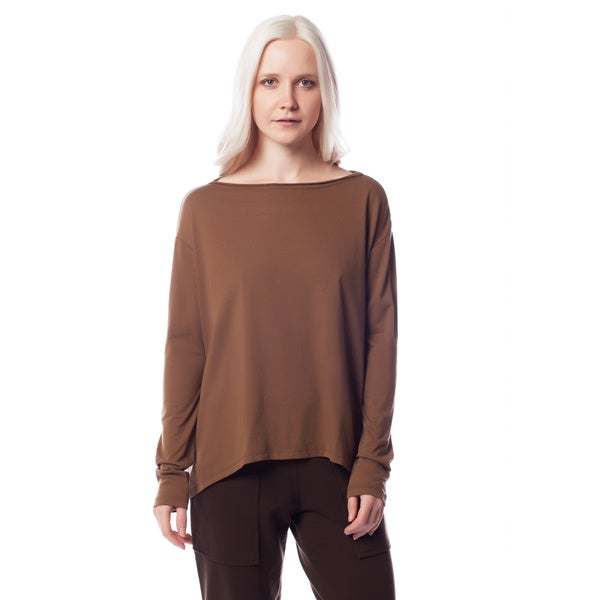 AtoZ Women's Basic Boat Neck Long Sleeve Top