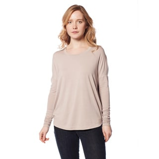 AtoZ Women's Modal Long Sleeve Draped Top