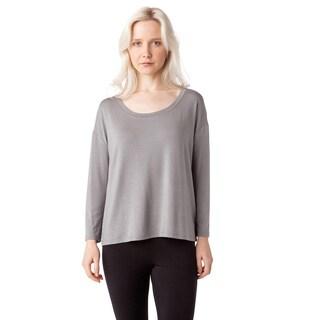 AtoZ Women's Modal Long Sleeve Scoop Neck Loose Top