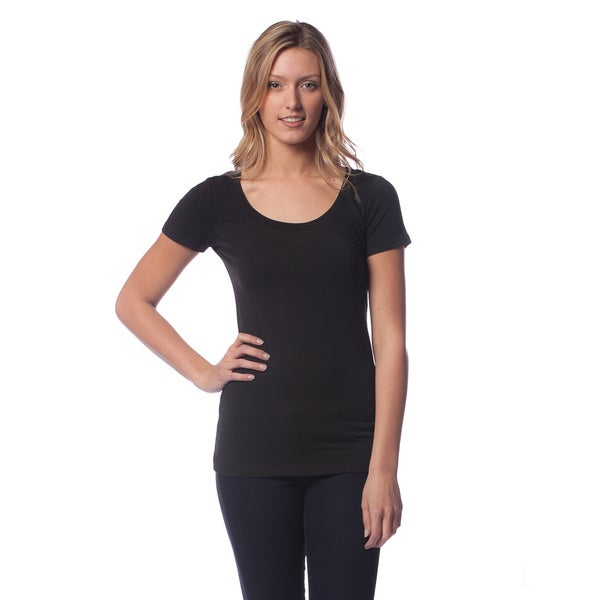 AtoZ Women's Modal Short Sleeve Scoop Neck Top