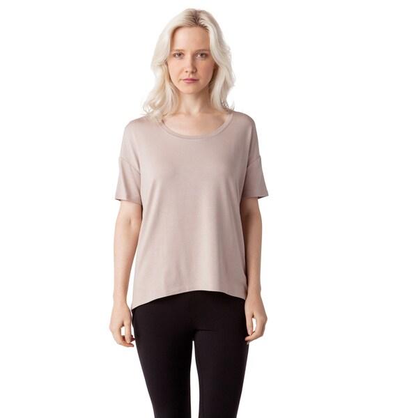 AtoZ Women's Modal Drop Shoulder Scoop Neck Top