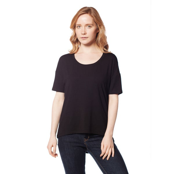 AtoZ Women's Modal Drop Shoulder Scoop Neck Top