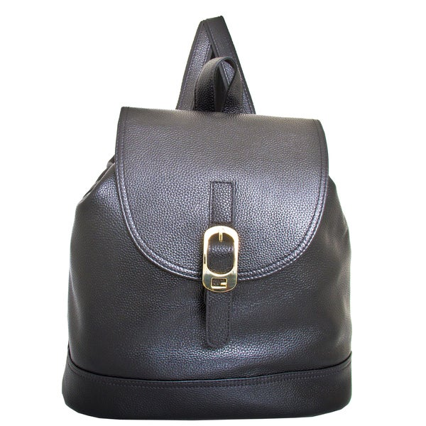 Leatherbay Renata Black Leather Flapover Backpack
