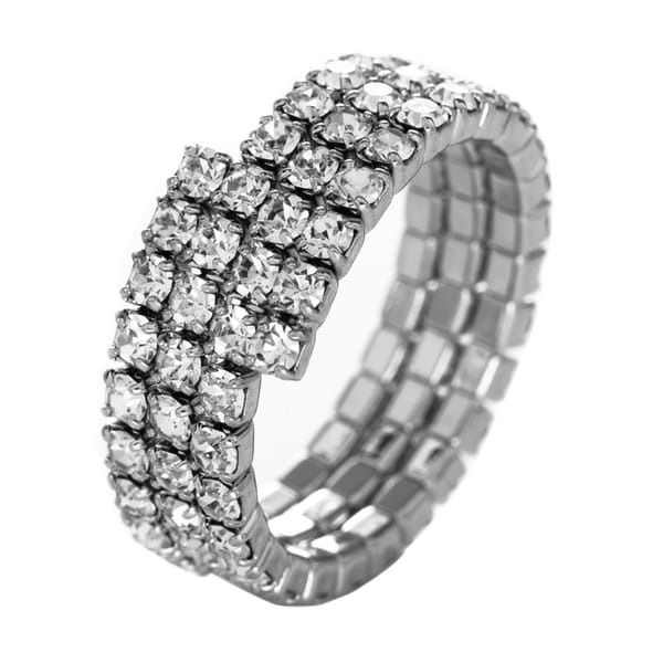 Facet Nation Three Row Crystal Flex Ring