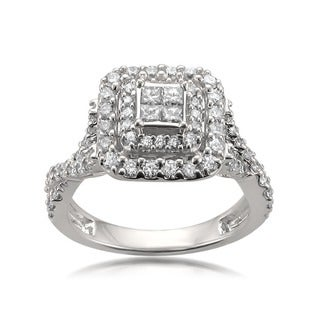 14k White Gold 1ct TDW Composite Halo White Diamond Engagement Ring (H-I, SI2-SI3)
