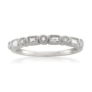 Montebello 14k White Gold 1/4ct TDW White Diamond Vintage-Style Milgrain Wedding Band (H-I, SI1-SI2)