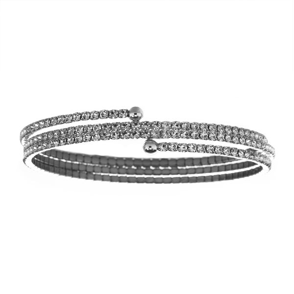 Facet Nation Three Row Crystal Flex Bangle