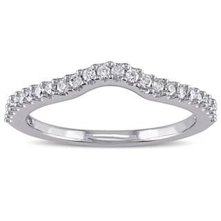 Miadora 14k White Gold 1/4ct TDW Diamond Curved Wedding Band (G-H, I1-I2)