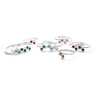 Isla Simone Silverplated Crystal Birthstone Bangle Bracelet