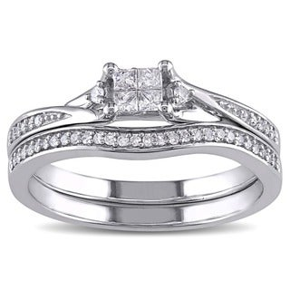 Miadora 10k White Gold 1/4ct TDW Princess-cut Diamond Bridal Ring Set (G-H, I1-I2)
