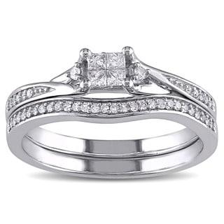 Miadora 10k White Gold 1/4ct TDW Princess-cut Quad and Round Diamond Engagement Wedding Bridal Ring Set (G-H, I1-I2)