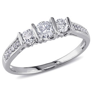 Miadora 10k White Gold 1/2ct TDW Diamond 3-stone Engagement Ring (G-H, I2-I3)