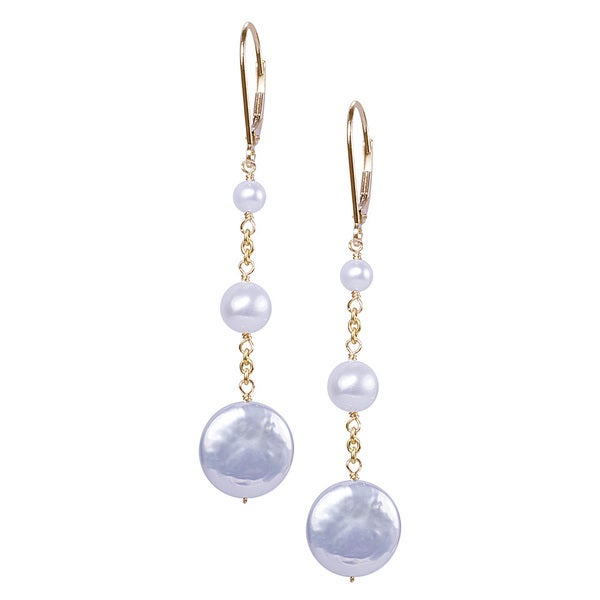 14k Yellow Gold White Freshwater Pearl Coin Drop Earrings (6.5-7mm)