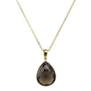 14k Yellow Gold Faceted Smokey Quartz Necklace