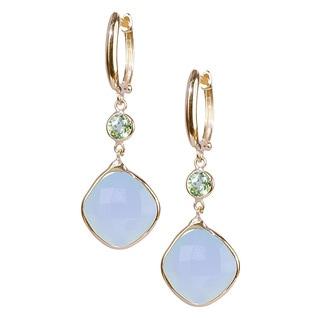 14k Yellow Gold Prehnite Peridot Earrings