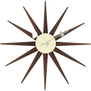 Hans Andersen Home Dark Walnut Color Sunburst Clock