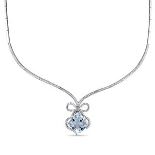 Miadora 14k White Gold Aquamarine and 1 2/5ct TDW Diamond Necklace (G-H, SI1-SI2)