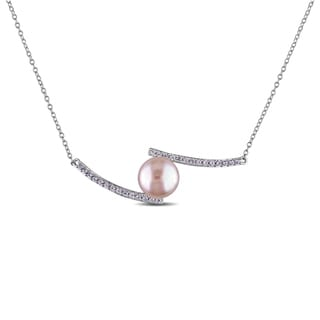 Miadora Sterling Silver Cultured Freshwater Pink Pearl and Created White Sapphire Necklace (10-10.5 mm)