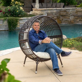Christopher Knight Home Cutter Outdoor Wicker Lounge Chair with Cushion