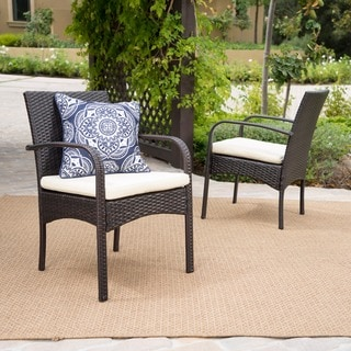Outdoor Cordoba Wicker Dining Chair with Cushions (Set of 2) by Christopher Knight Home