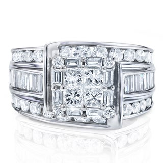 Annello 14k White Gold 2ct TDW Princess-cut Multi-stone Diamond Engagement Ring (H-I, I1-I2)
