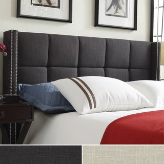 INSPIRE Q Parker Linen Nailhead Wingback Panel Upholstered Queen-sized Headboard