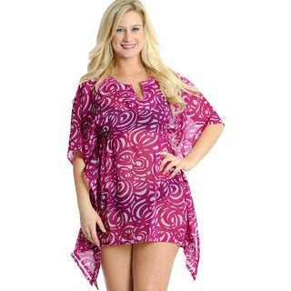 La Leela Women's Purple Sequin Work Chiffon Swim Cover-up