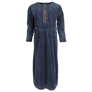 Mimo Big Girls' Cotton Blend Long Velour Nightgown with Front Buttons