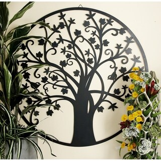 Botanical Themed Metal Outdoor Tree Wall Plaque