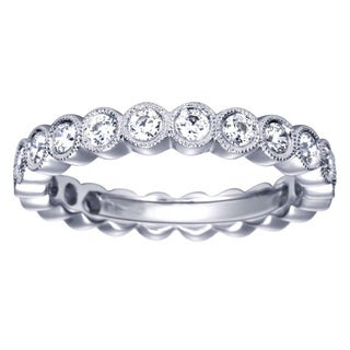 14k White Gold 3/4ct TDW Bezel-set Round Diamond Wedding Band (HI, I1-I2) (Size 5)