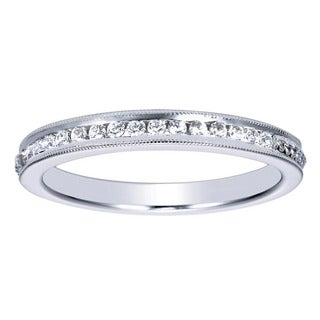 14k White Gold 1/6ct Channel-set Diamond Milgrain Wedding Band (H-I, I1-I2)