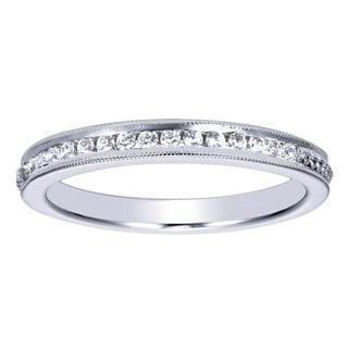 14k White Gold 1/6ct TDW Channel-set Diamond Milgrain Wedding Band (H-I, I1-I2)