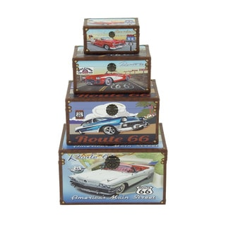 Funky Wood Canvas Trunk (Set of 4)