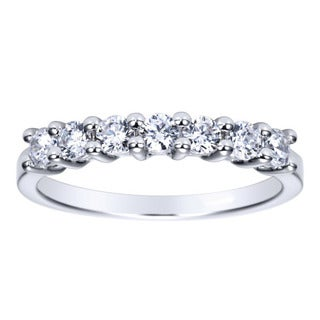 14k White Gold 1/2ct TDW 7-stone Wedding Band (H-I, I1-I2)