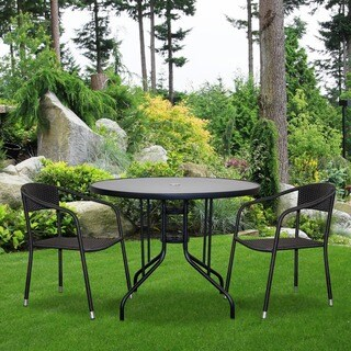 Somette Manassa Round Black Glass Top Patio Table