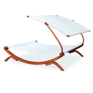 Somette Sawyer White Double Hammock Day Bed with Pillow